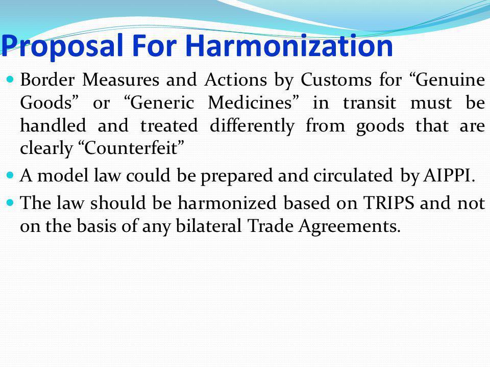Proposal For Harmonization