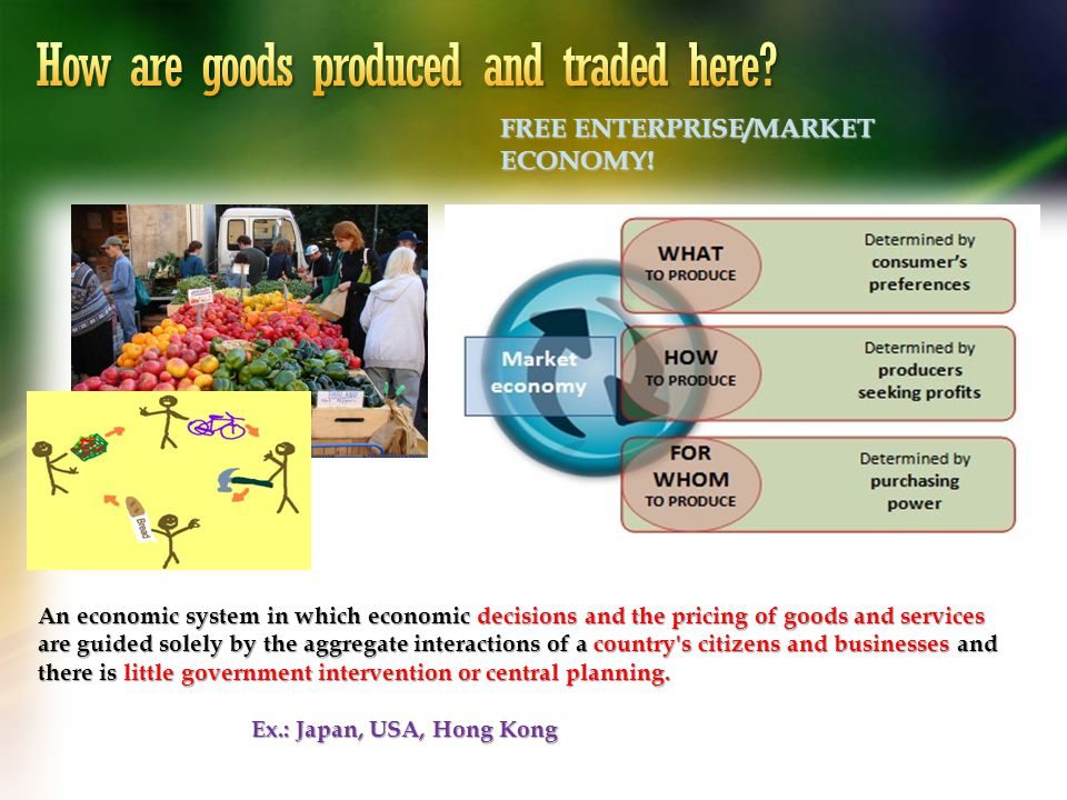 How are goods produced and traded here
