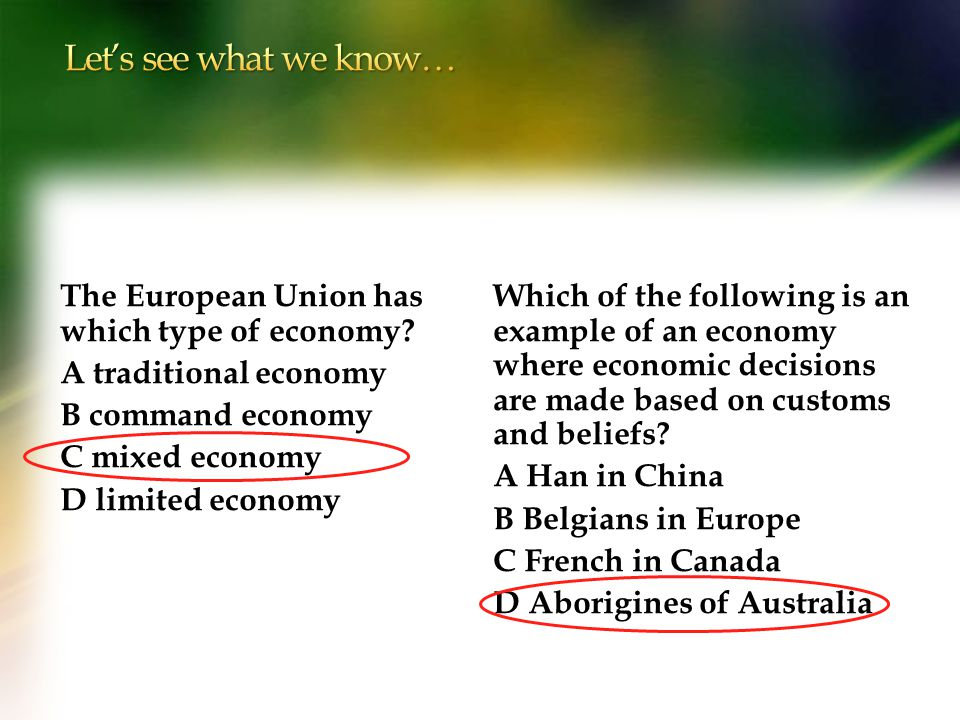 Let's see what we know… The European Union has which type of economy A traditional economy B command economy C mixed economy D limited economy
