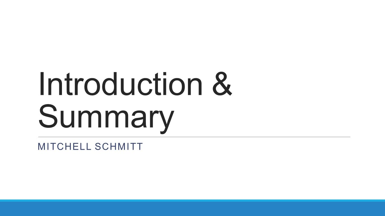 Introduction & Summary