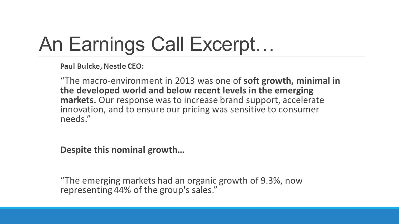 An Earnings Call Excerpt…