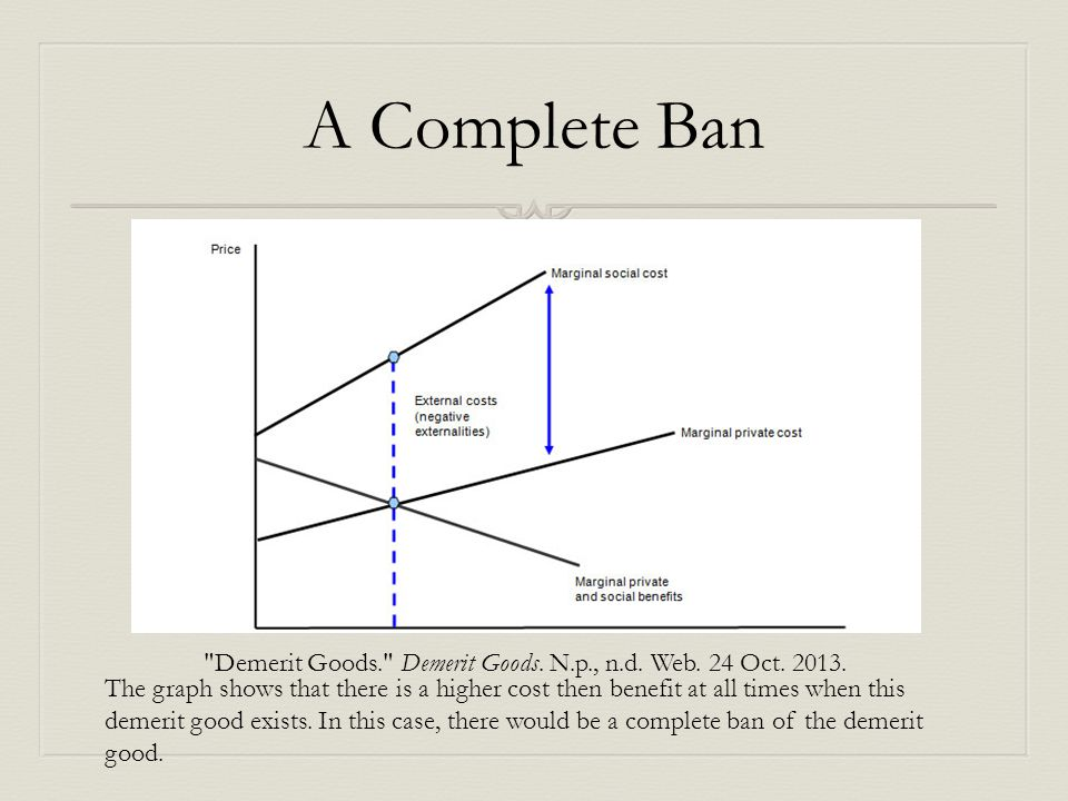 A Complete Ban Demerit Goods. Demerit Goods. N.p., n.d. Web. 24 Oct. 2013.