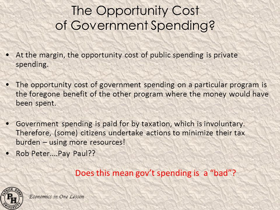 The Opportunity Cost of Government Spending