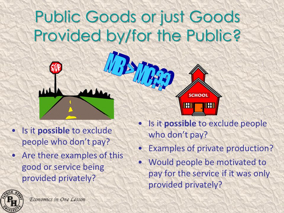 Public Goods or just Goods Provided by/for the Public