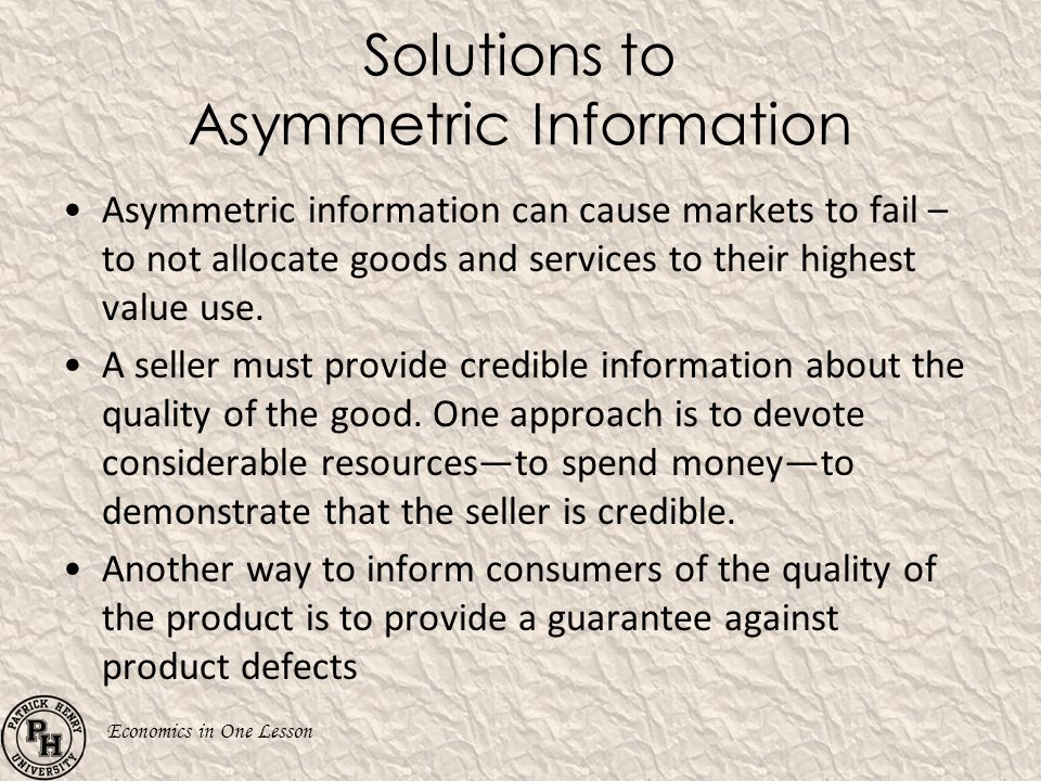 Solutions to Asymmetric Information