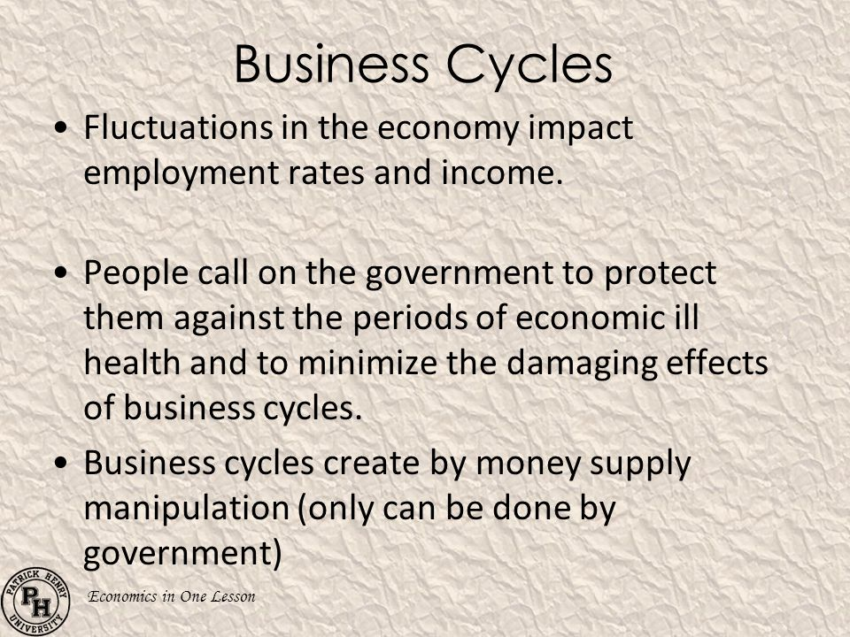 Business Cycles Fluctuations in the economy impact employment rates and income.