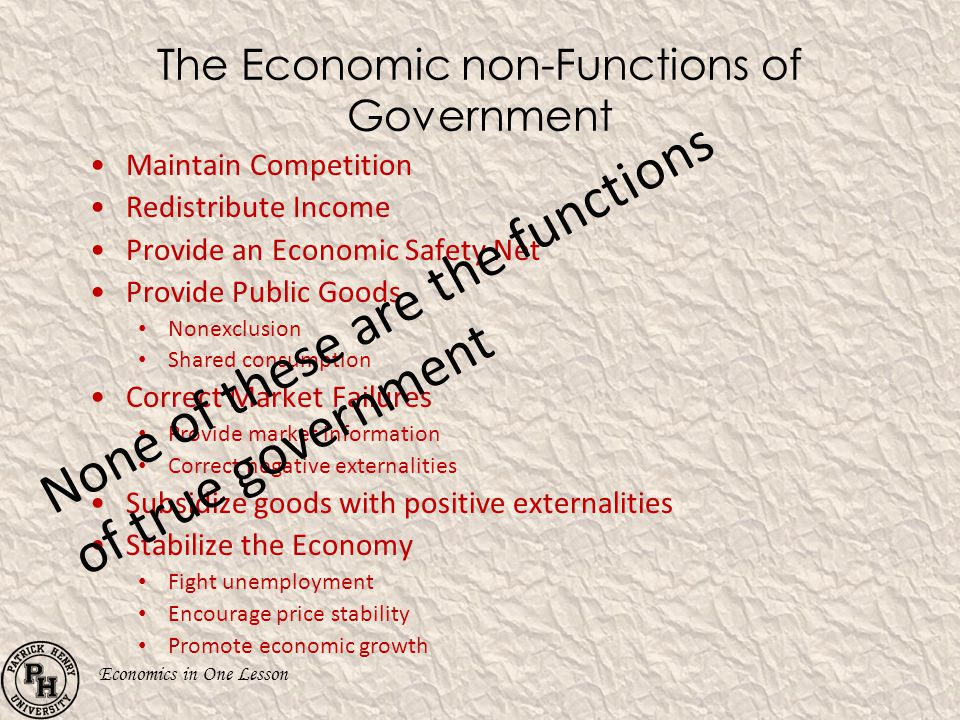 The Economic non-Functions of Government