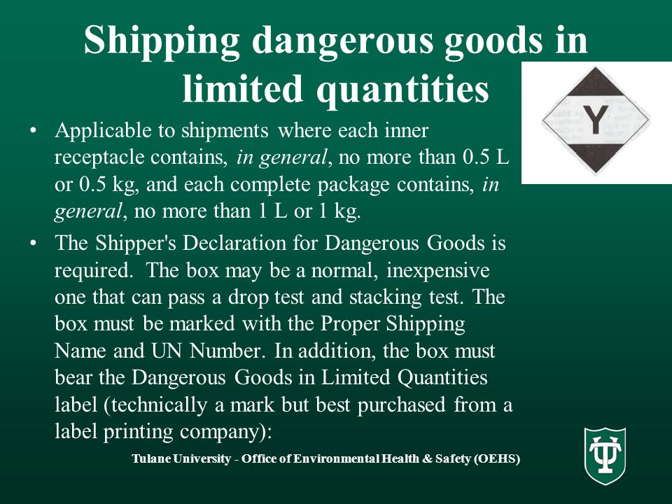 Shipping dangerous goods in limited quantities