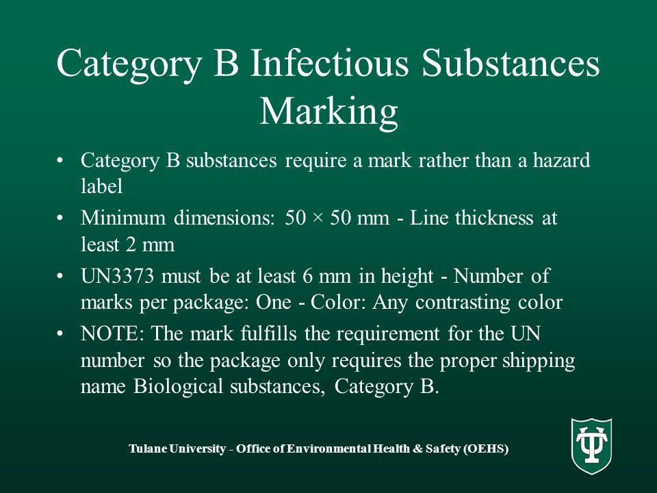 Category B Infectious Substances Marking