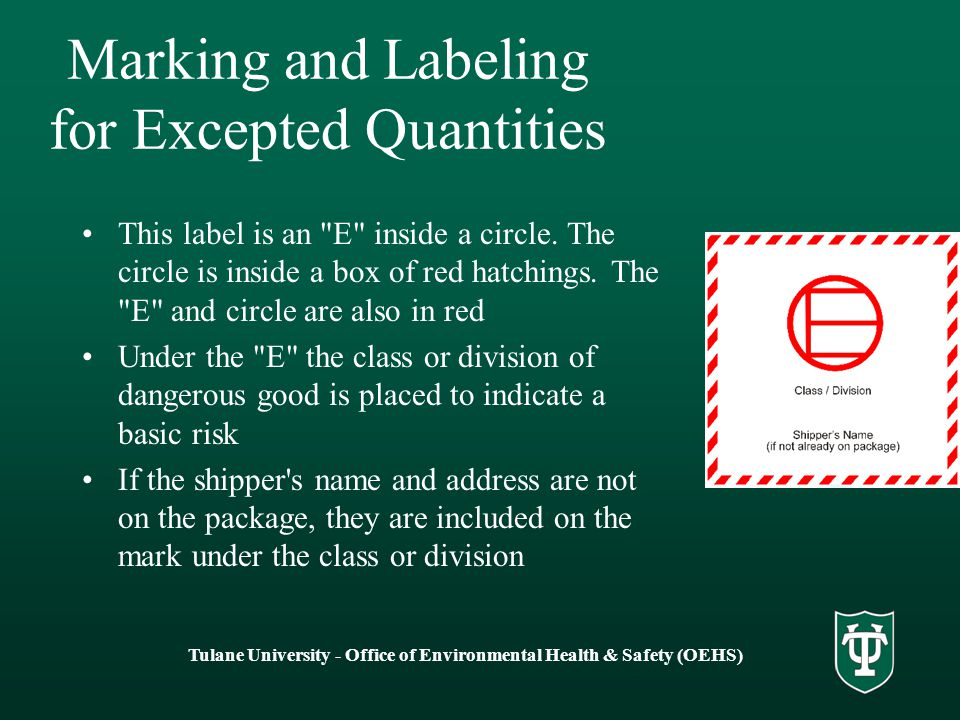 Marking and Labeling for Excepted Quantities