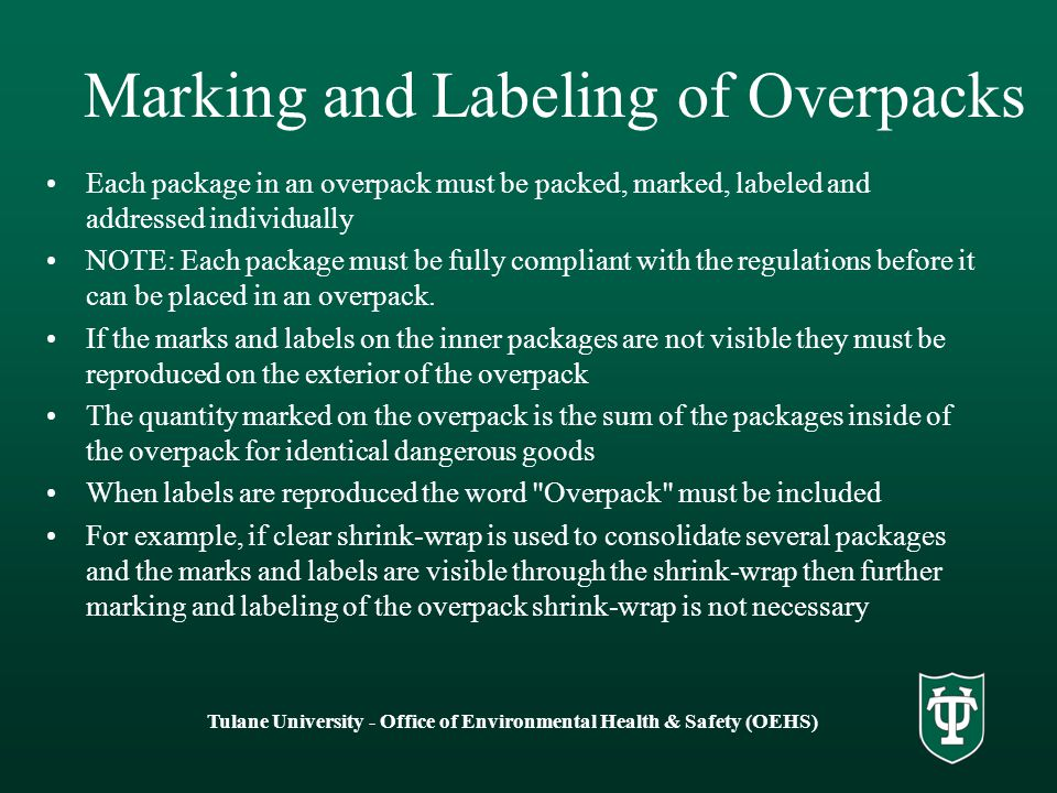 Marking and Labeling of Overpacks