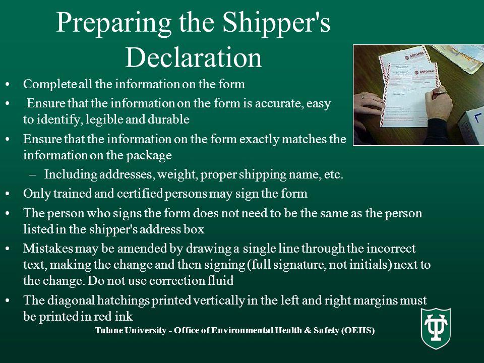 Preparing the Shipper s Declaration