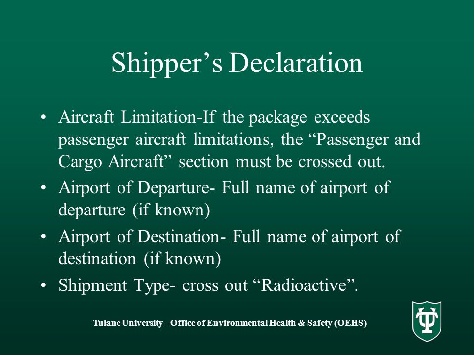 Shipper's Declaration