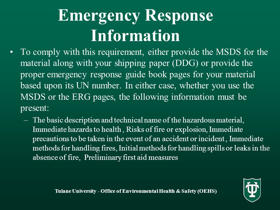 Emergency Response Information
