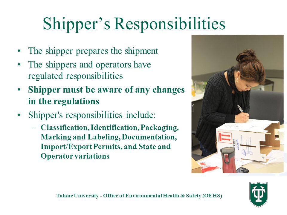 Shipper's Responsibilities
