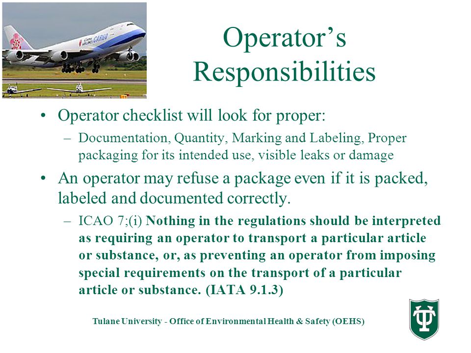 Operator's Responsibilities