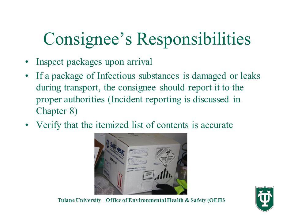 Consignee's Responsibilities