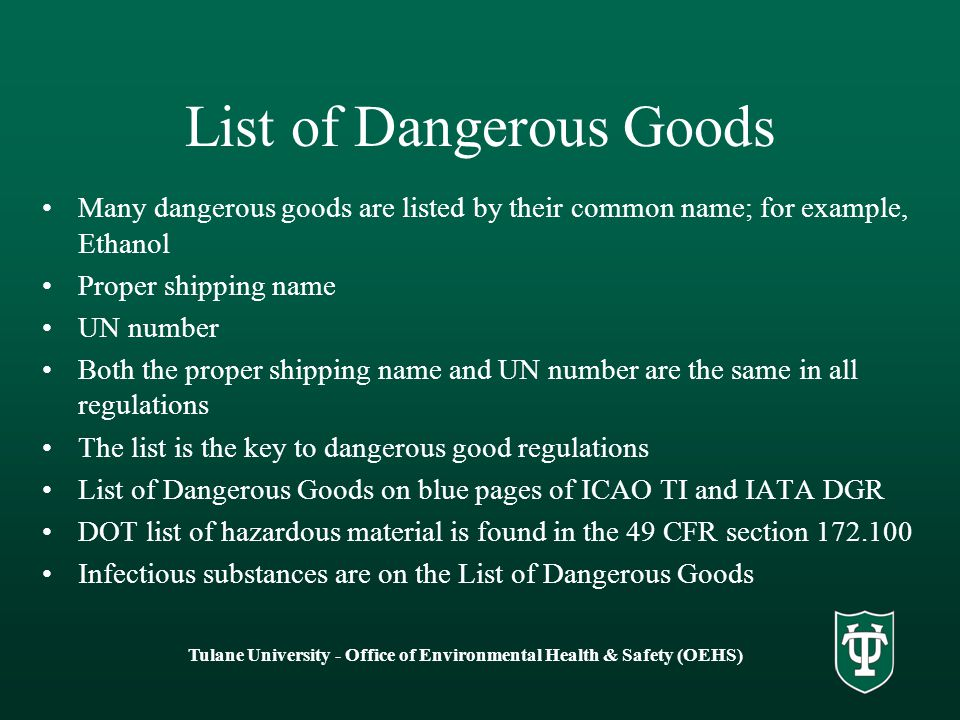 List of Dangerous Goods