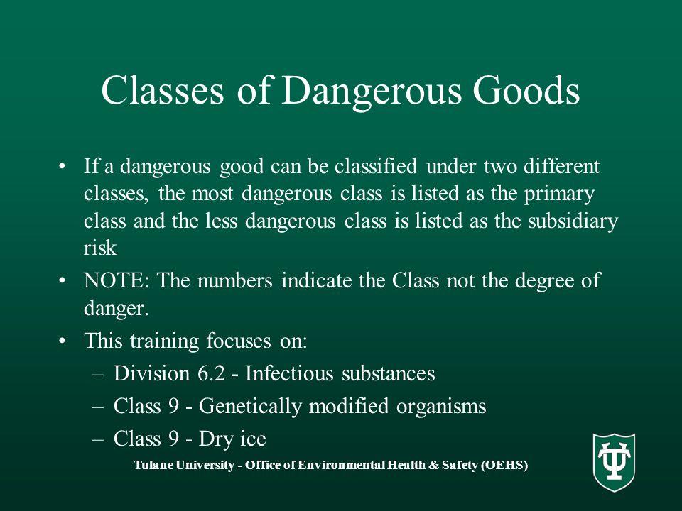 Classes of Dangerous Goods
