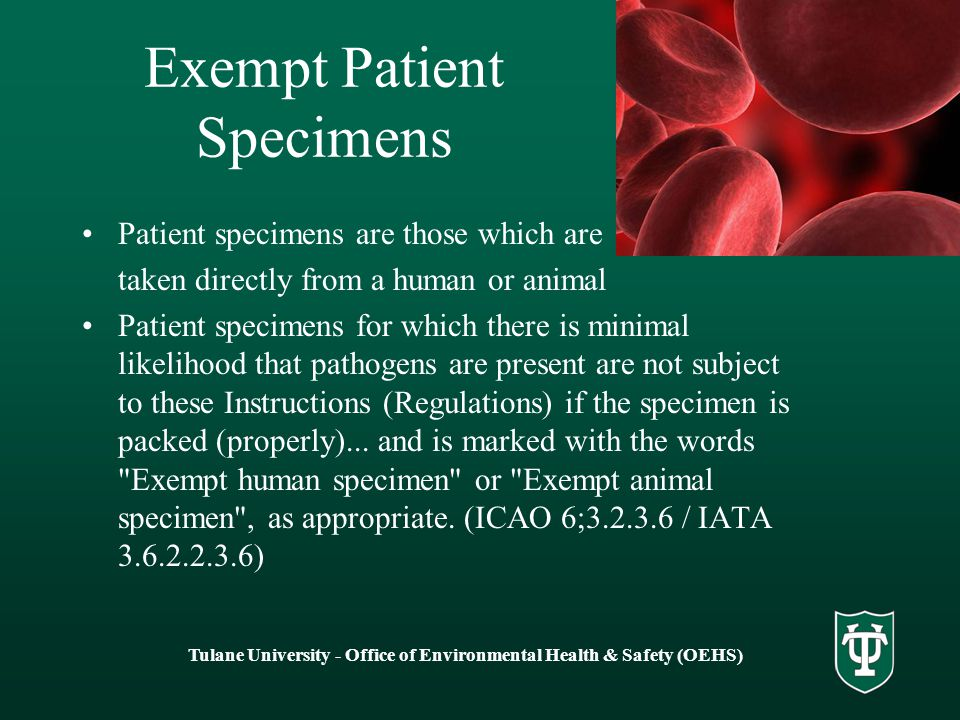 Exempt Patient Specimens