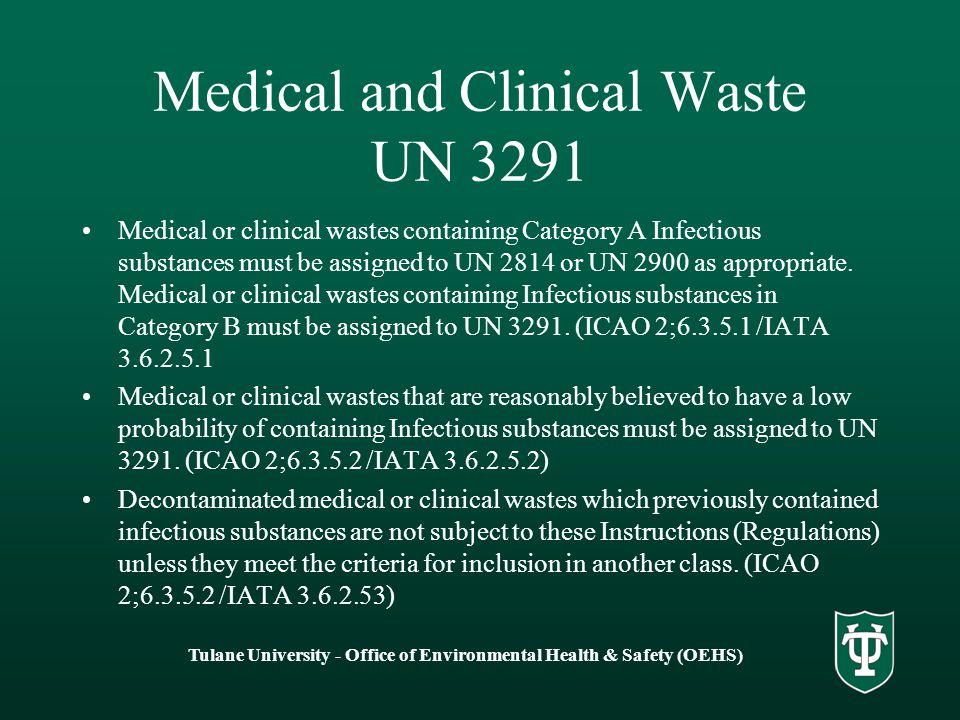 Medical and Clinical Waste UN 3291