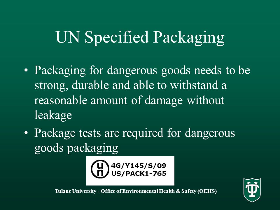 UN Specified Packaging