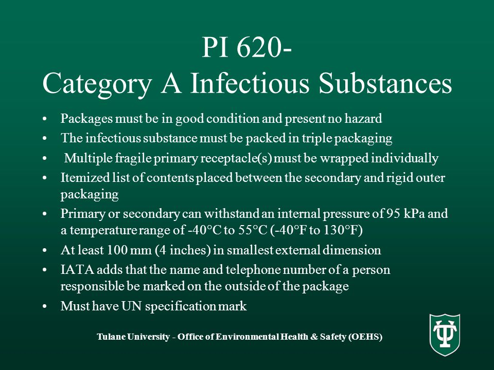 PI 620- Category A Infectious Substances