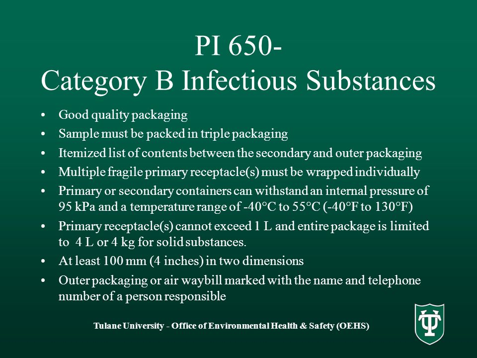PI 650- Category B Infectious Substances