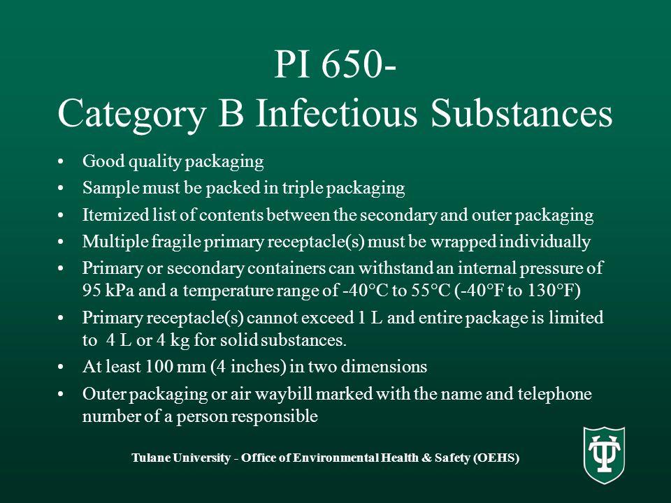 PI 650- Category B Infectious Substances