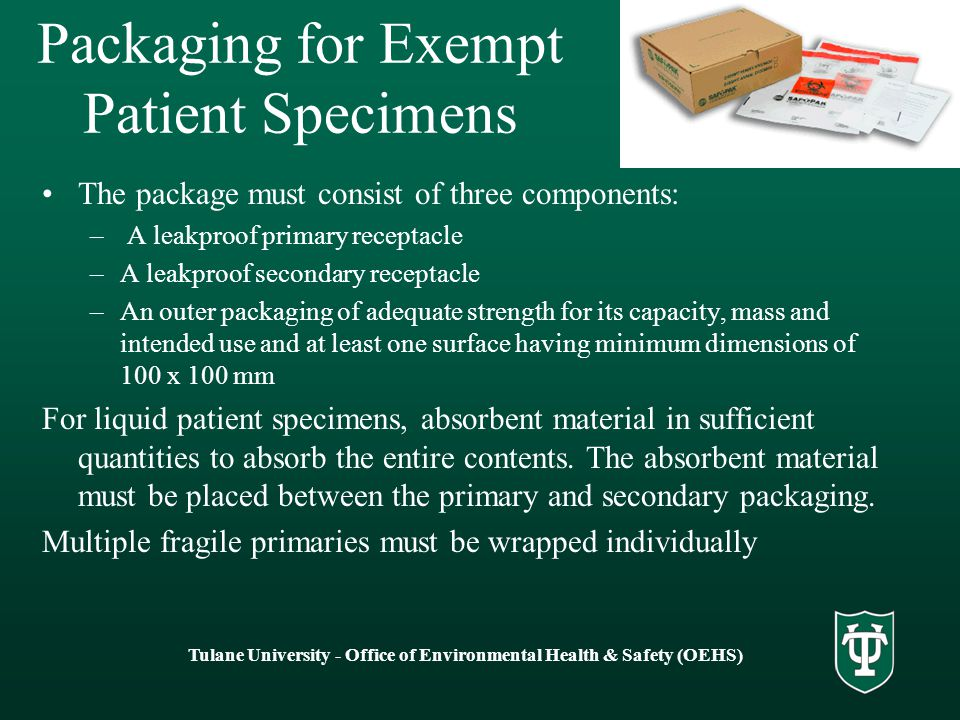 Packaging for Exempt Patient Specimens