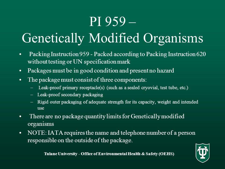 PI 959 – Genetically Modified Organisms