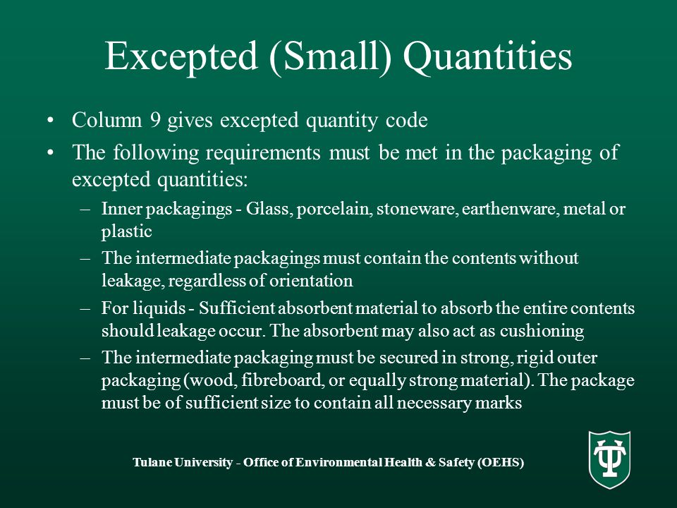 Excepted (Small) Quantities