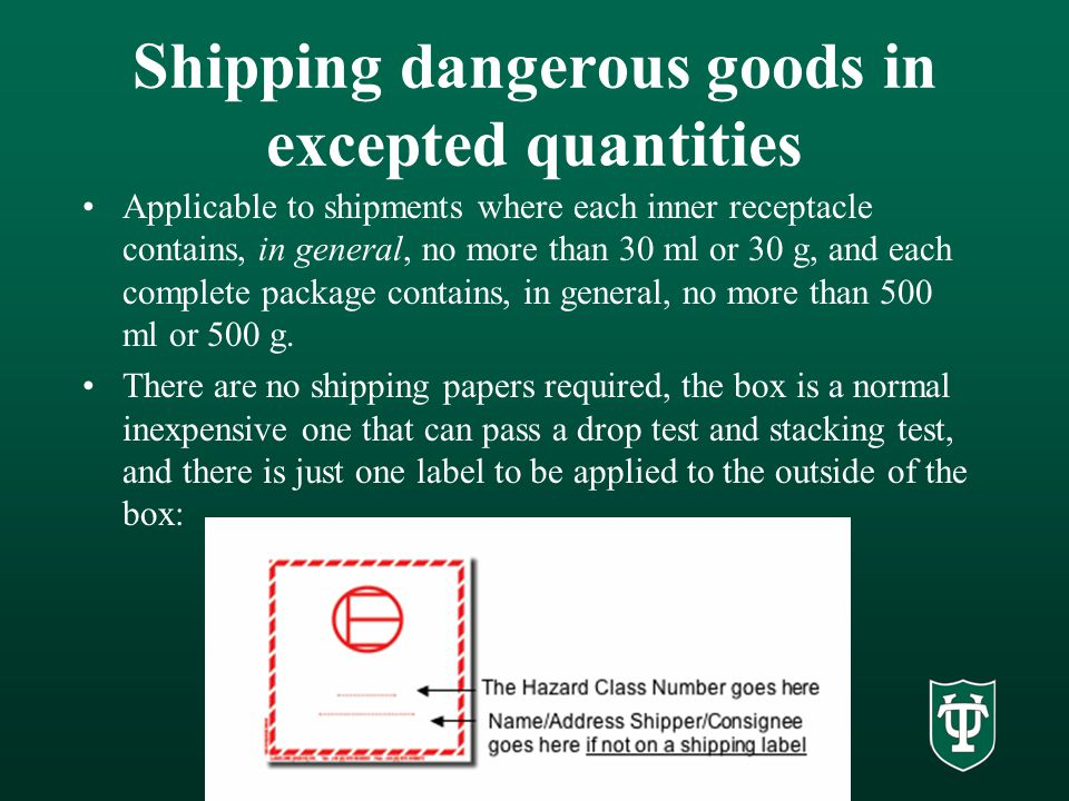 Shipping dangerous goods in excepted quantities