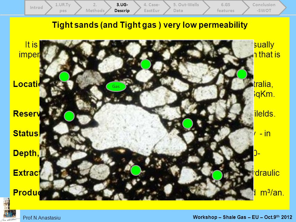 Tight sands (and Tight gas ) very low permeability