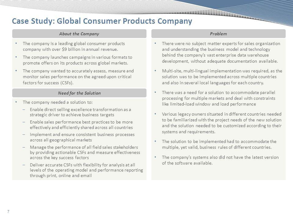 Case Study: Global Consumer Products Company