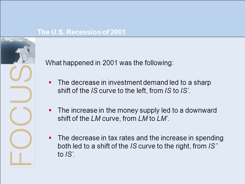 The U.S. Recession of 2001 What happened in 2001 was the following: