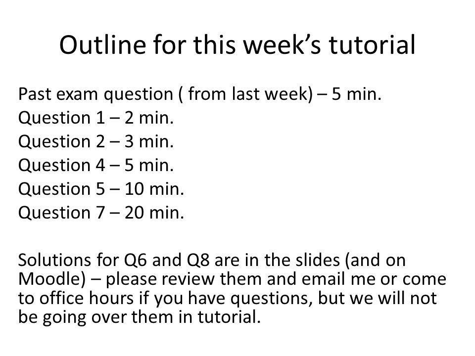 Outline for this week's tutorial