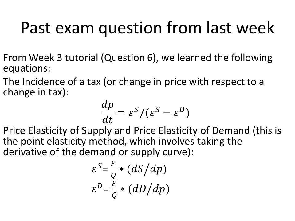 Past exam question from last week