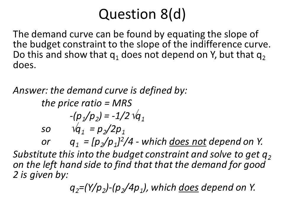 Question 8(d)