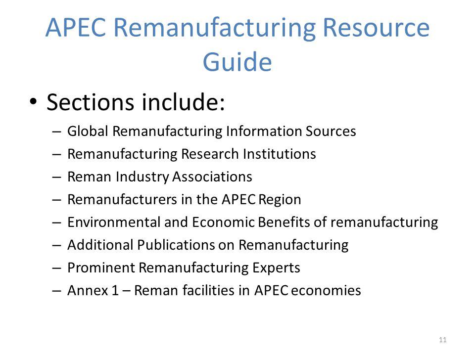 APEC Remanufacturing Resource Guide