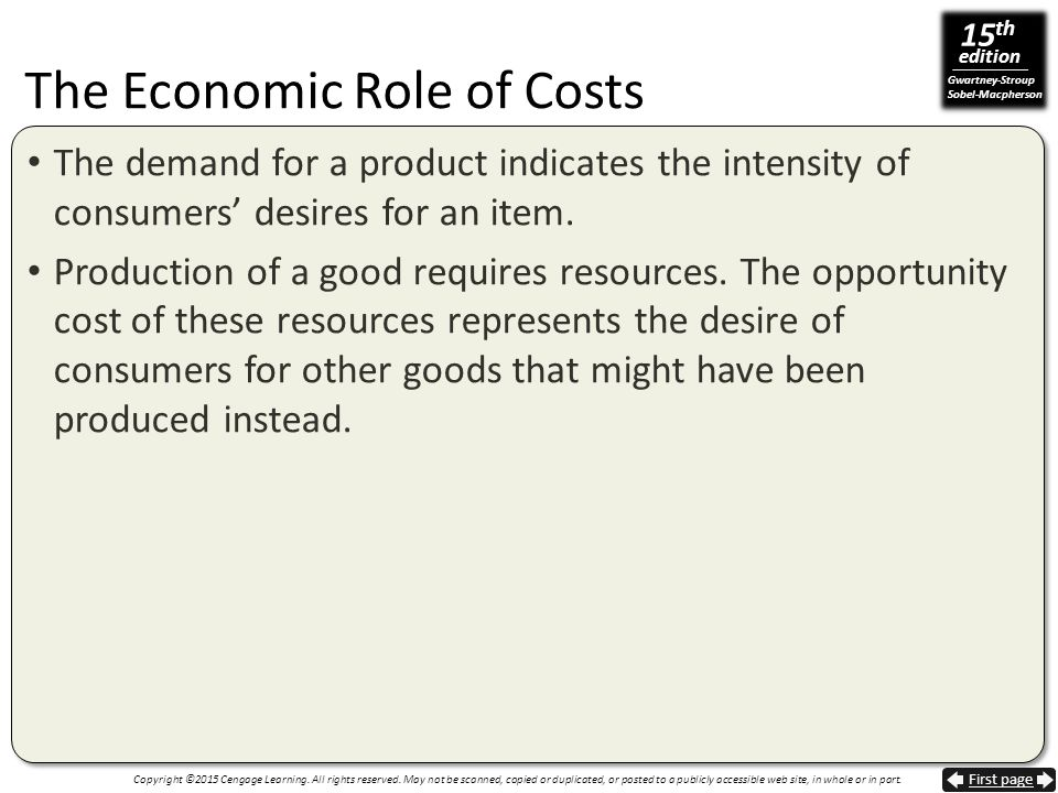The Economic Role of Costs