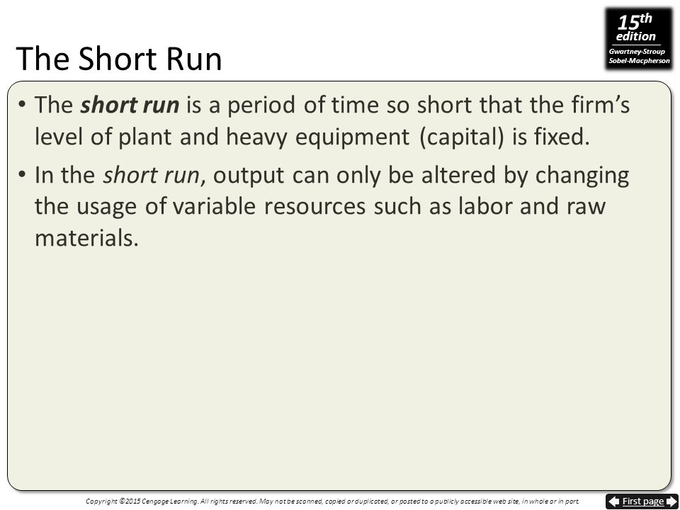 The Short Run The short run is a period of time so short that the firm's level of plant and heavy equipment (capital) is fixed.