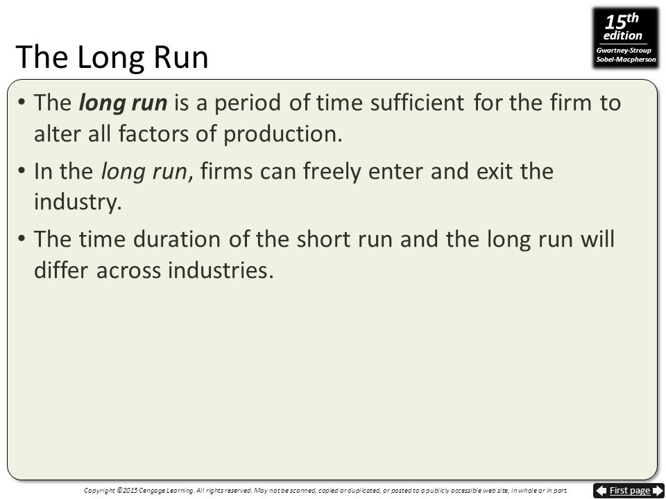 The Long Run The long run is a period of time sufficient for the firm to alter all factors of production.