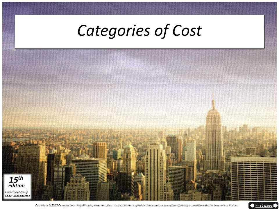 Categories of Cost