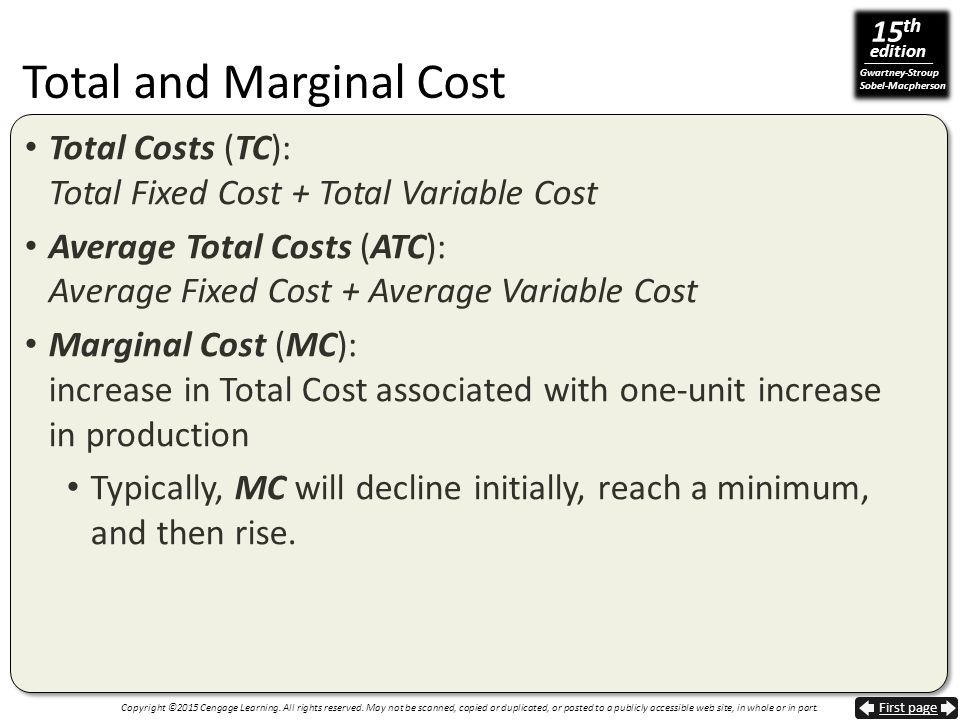 Total and Marginal Cost