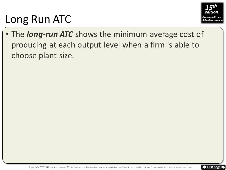 Long Run ATC The long-run ATC shows the minimum average cost of producing at each output level when a firm is able to choose plant size.