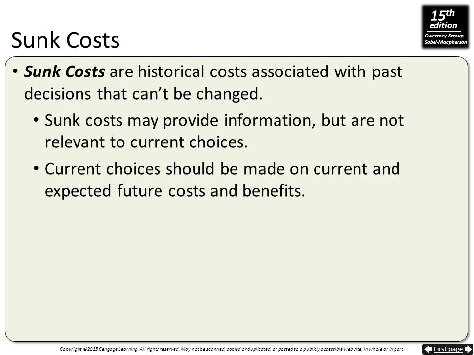 Sunk Costs Sunk Costs are historical costs associated with past decisions that can't be changed.