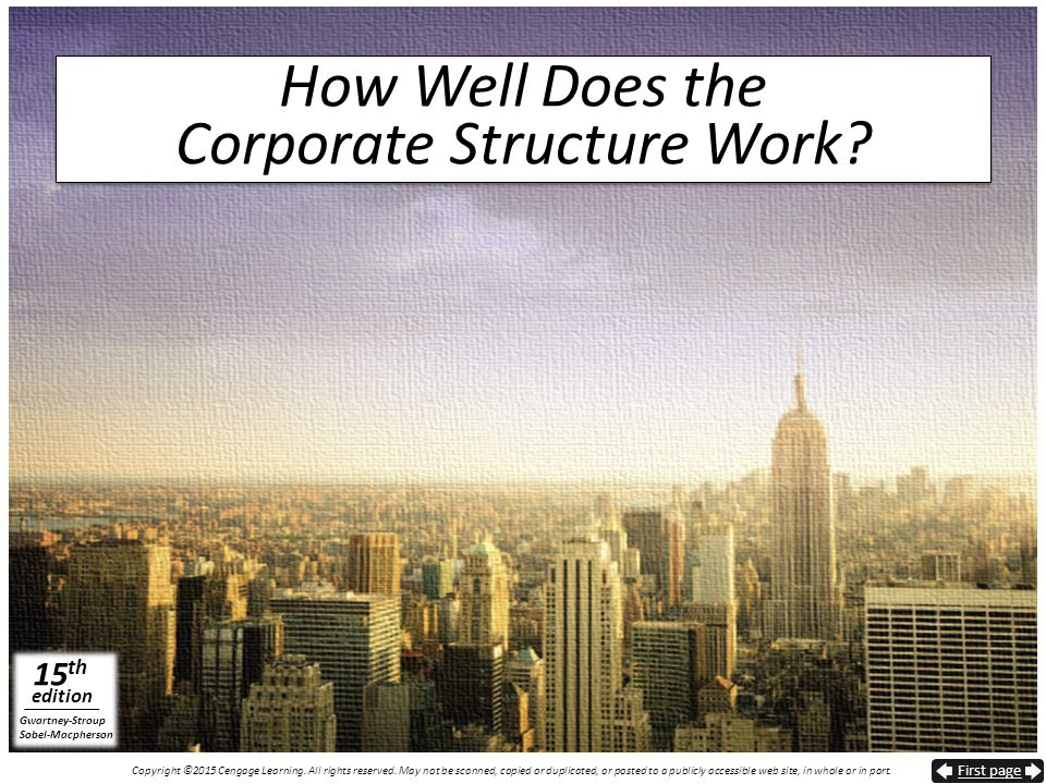 How Well Does the Corporate Structure Work
