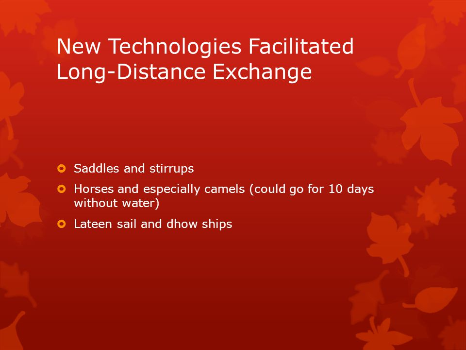New Technologies Facilitated Long-Distance Exchange