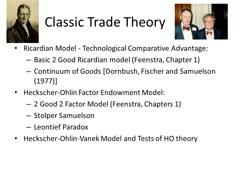 Classic Trade Theory Ricardian Model - Technological Comparative Advantage: Basic 2 Good Ricardian model (Feenstra, Chapter 1)
